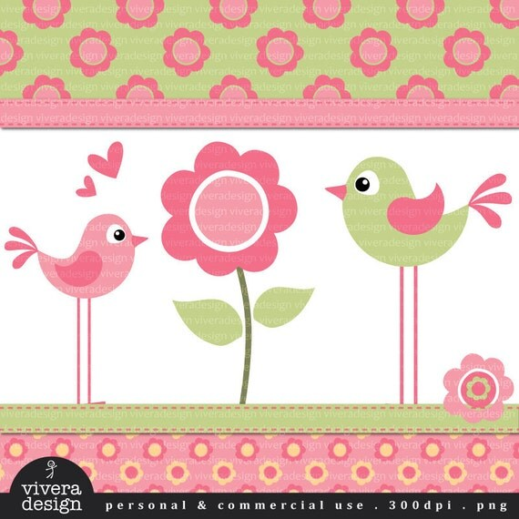 Digital Clip Art - Flower Birdies in Soft Pink and Green