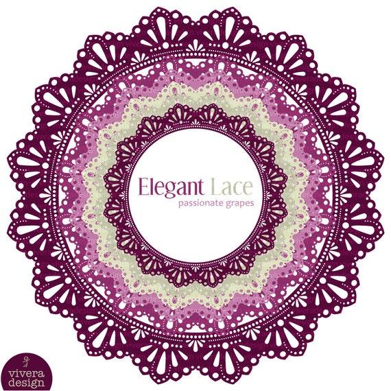 Circle Frames - Elegant Lace - Passionate Grapes - Digital Clip Art