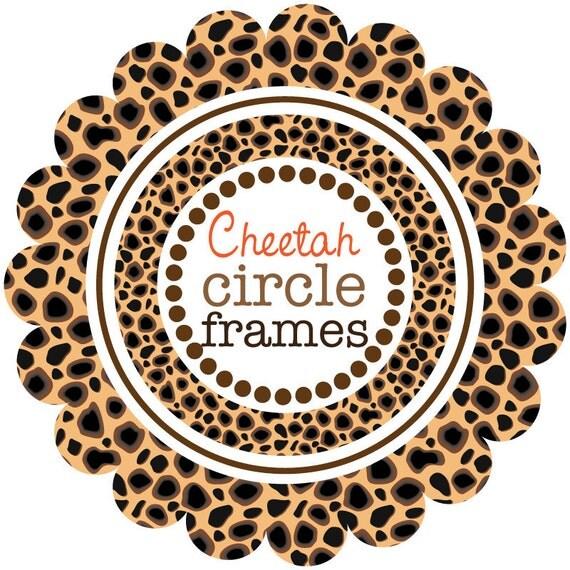 Digital Clip Art - Circle Frames in Cheetah Pattern
