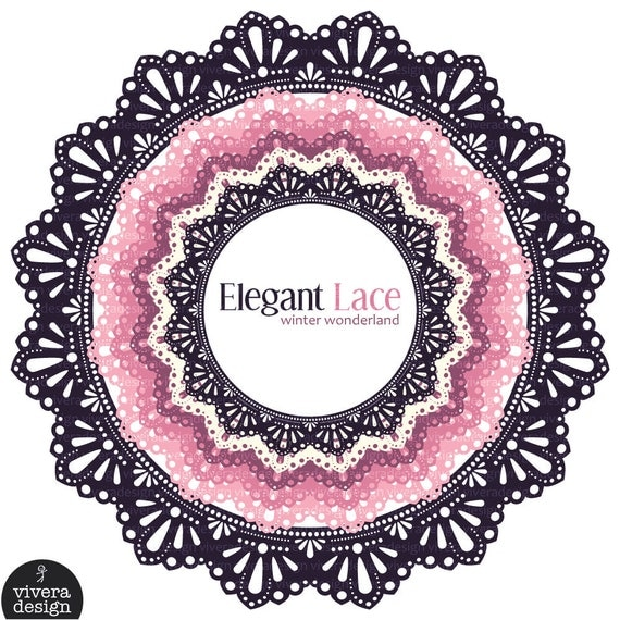 Digital Circle Frames - Elegant Lace - Pink Winter Wonderland