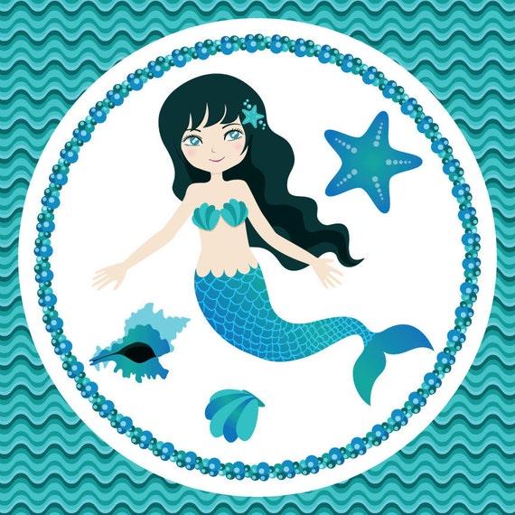 Mermaid Clip Art - Under the Turquoise Sea