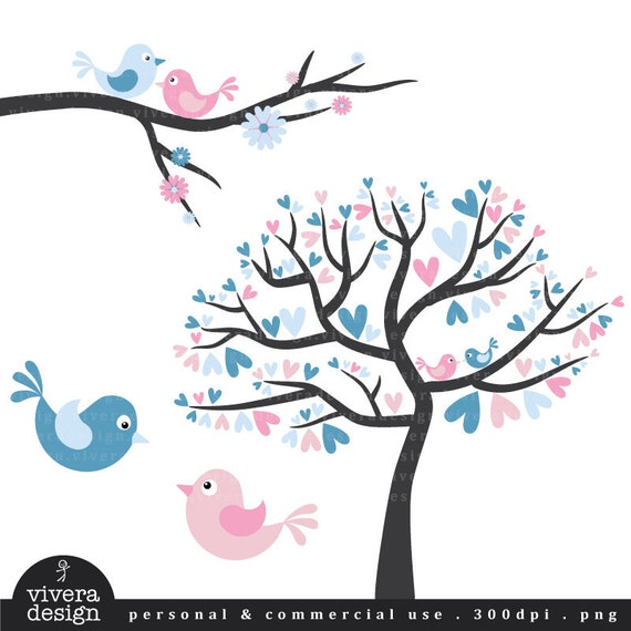Love Birds in Baby Blue and Pink - Digital Clip Art