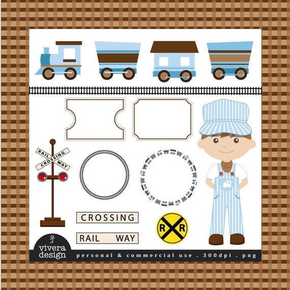All Aboard the Party Train Clip Art - in Sky Blue and Brown