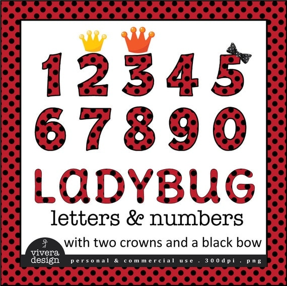 Digital Clip Art - Ladybug Letters and Numbers with Black Outine and additional Bow, and Crowns