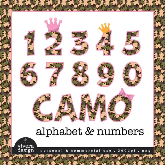 Camouflage Patterned Letters and Numbers Clip Art with Pink Outine and additional Pink Bow, Pink Crown and Yellow Crown