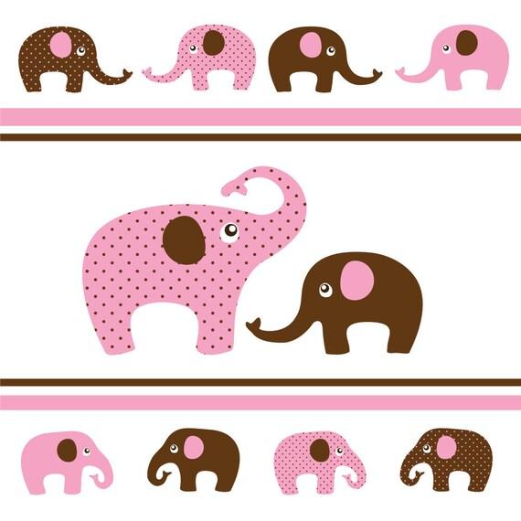 Digital Clip Art - Elephants in Pink and Brown - 12 Elephants