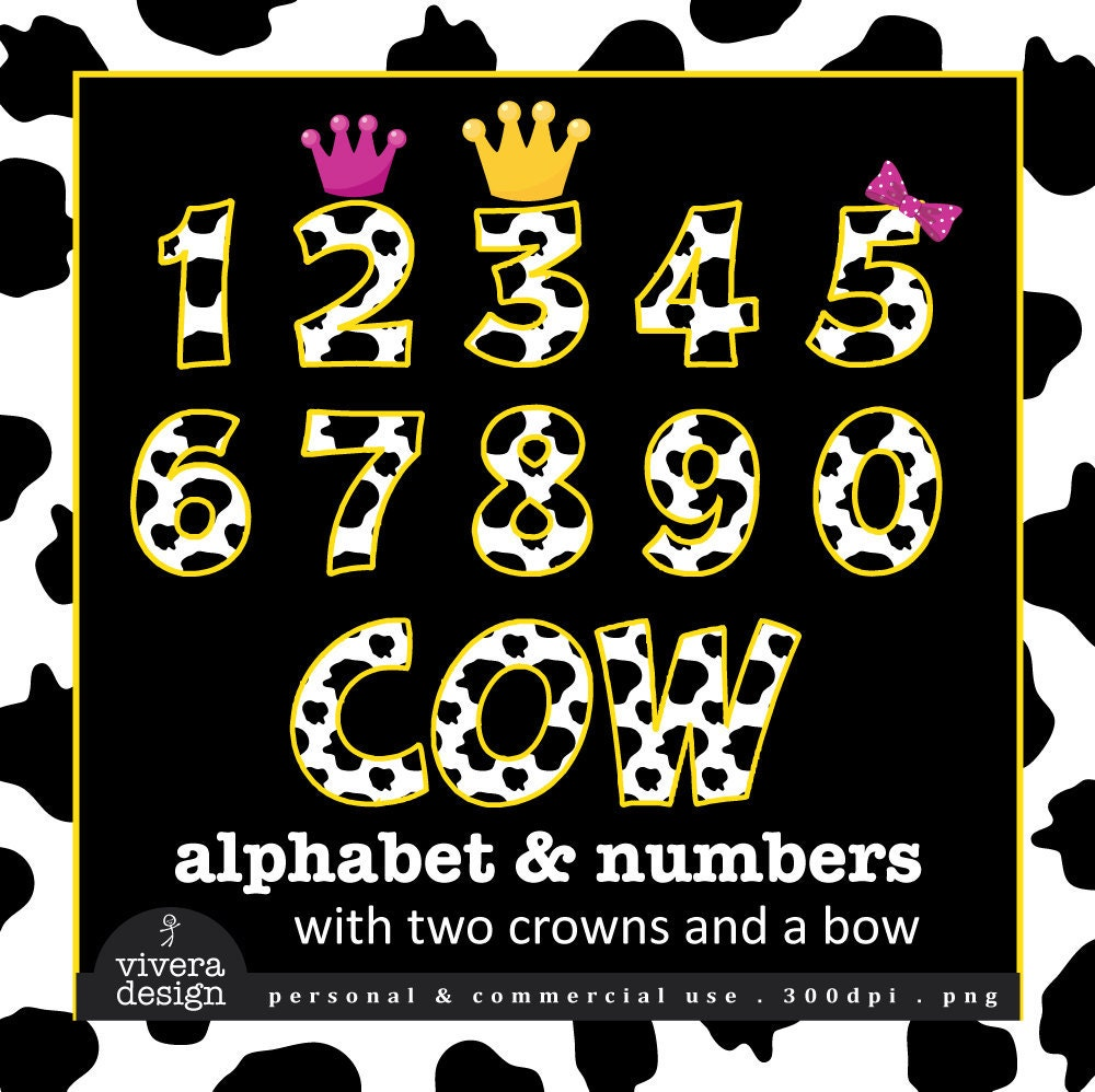 Digital Clip Art Cow Letters And Numbers With By Viveradesign