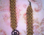 Steampunk Chainmaille Dangling Earrings