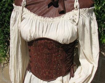 Medieval Renaissance Steampunk Lace Trimmed Off Shoulder Chemise