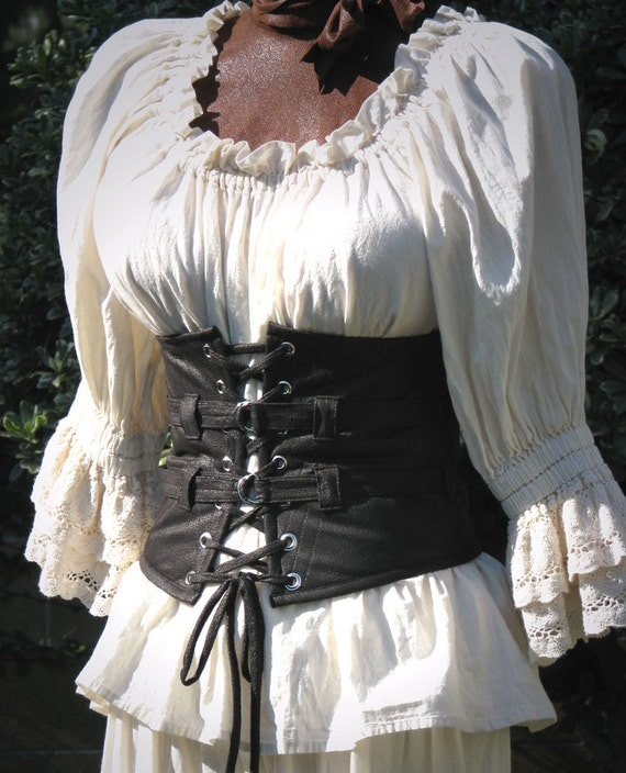 Lola Loves Leather Steampunk, Pirate, Wench, Gothic Extra Wide Waist Belt in Black