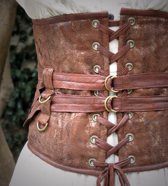 Delicious Extra Wide Steampunk Belt in Textured Browns