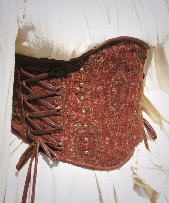 "Of Wine and Leather Medieval Renaissance Steampunk Tapestry Corset Waist Cincher Ready to Ship Waist Size 29"" to 32"""
