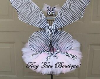 Pink Zebra Tutu/Hairbow Set- 2T/3T, 4T/5T