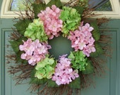 Summer Wreath - Hydrangea Wreath - Mothers Day Wreath