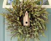 Summer Wreath -  Wreath for Door - Birdhouse Wreath - Church Wreath