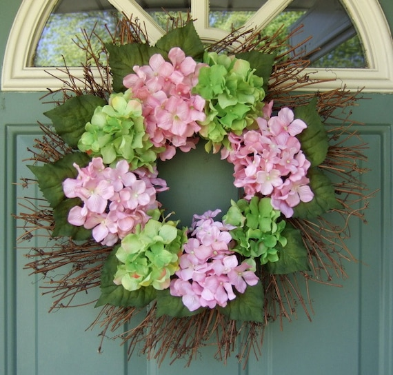 Summer Wreath - Hydrangea Wreath - Mothers Day Wreath