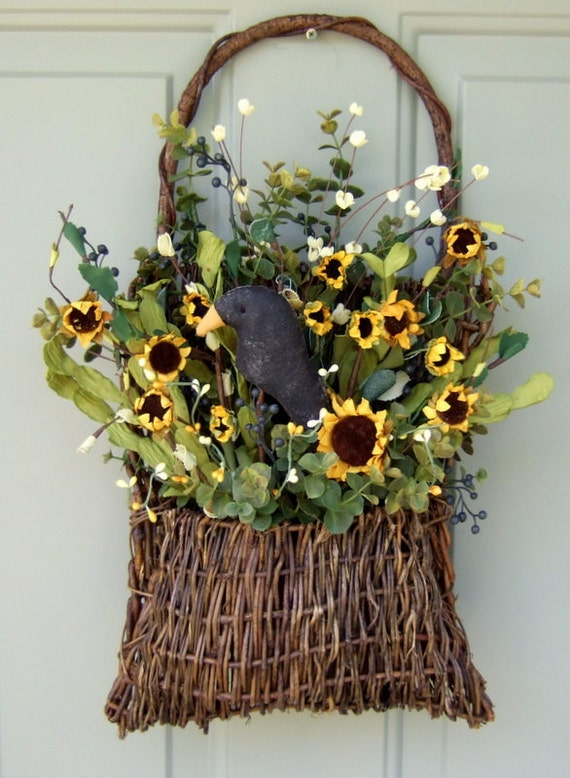 Summer Wreath -  Fall Wreath - Wreath for Door - Door Basket - Primitive Sunflower Basket