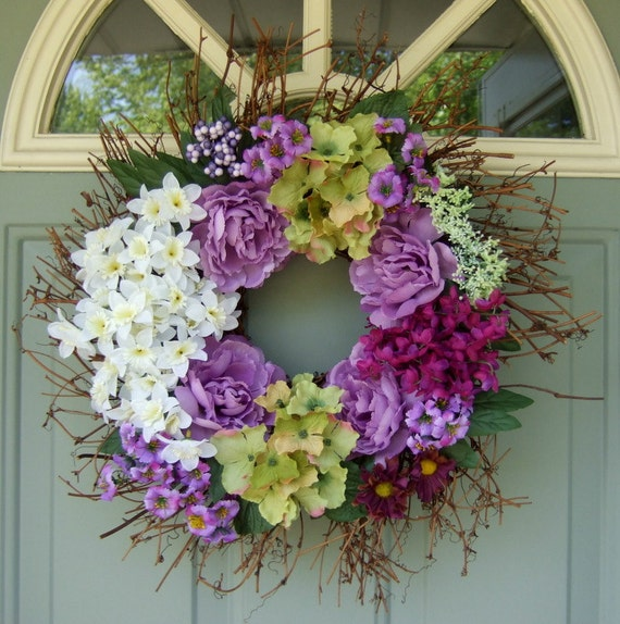 Summer Wreath - Spring Wreath - Floral Door Wreath