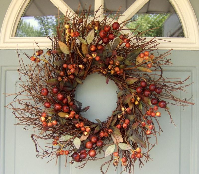 Fall Wreath Rustic Berry Wreath Primitive Wreath Fall