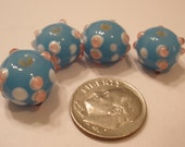 Aqua Pink and White Lampwork Beads