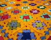 GRANNY SQUARES Blanket Golden Yellow Granny Crochet Afghan
