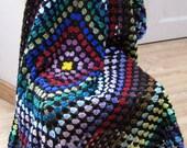 Large Vintage Style Crochet Granny Square Blanket Afghan Sofa Throw Retro