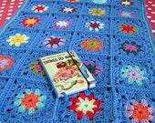 Gorgeous Madonna Blue Baby Granny Square Crochet Pram Blanket Afghan