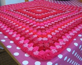 PINK Crochet Granny Square Blanket Afghan Raspberry Candy Powder Pinks