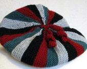 Sideways Hand Knitted Striped Beret Hat