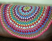 Circular Granny Stripes Crochet Blanket Afghan Mandala