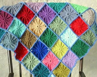 Crochet Pattern Grandad Square Blanket Granny Squares Afghan PDF