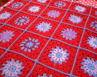 Gorgeous Bluebells Crochet Granny Square Blanket Afghan Throw Made to Order
