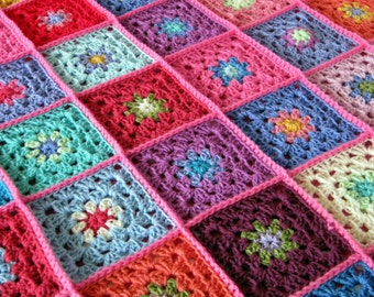 Colourful Flowers Granny Squares Crochet Blanket Afghan