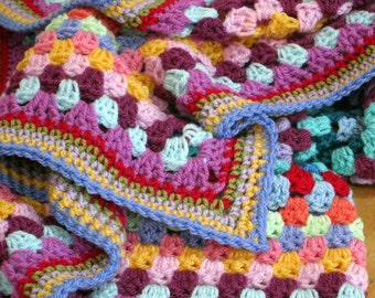 Granny Square Crochet Blanket Rainbow Colors Afghan