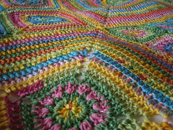 J'adore Floral Granny Square Blanket Crochet Pattern PDF