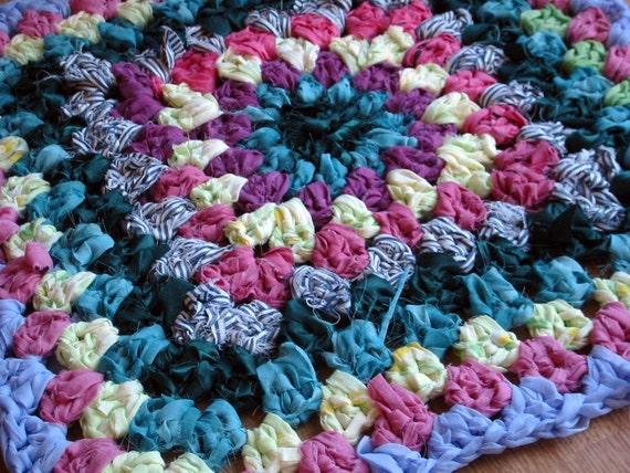 Shabby Chic Vintage Style Granny Square Rag Rug Crochet Pattern PDF