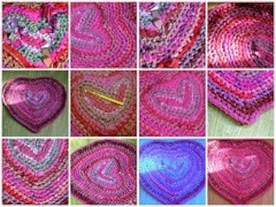 Sweet Heart Rag Rug Crochet Pattern PDF Valentines Love Heart