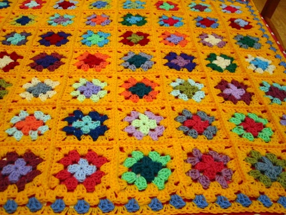 Crochet Blanket Ray of Sunshine Golden Yellow Granny Squares Afghan