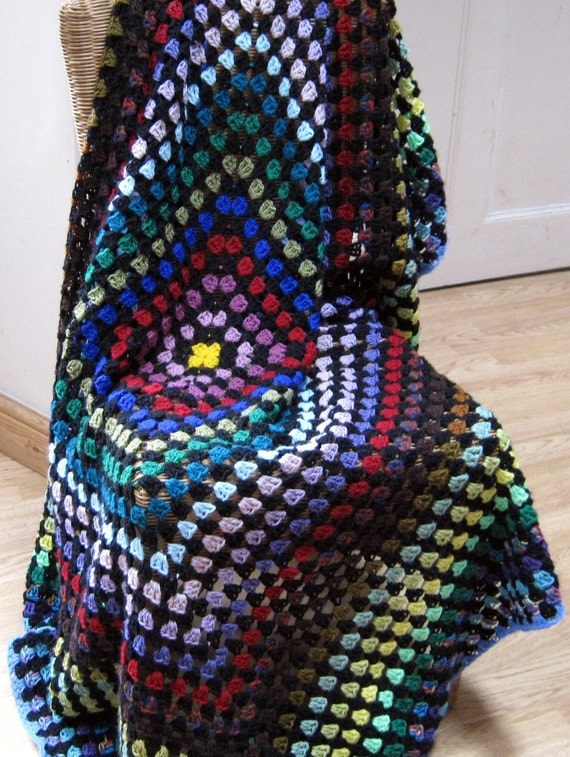 Large Vintage Style Crochet Granny Square Blanket Afghan Sofa Throw Retro