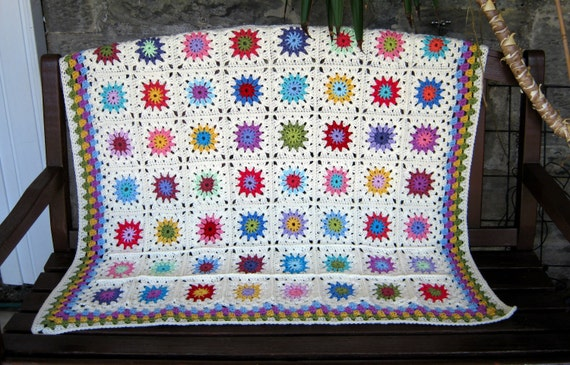 Petit Peony Crochet Blanket Afghan Throw Granny Square Blanket Chic