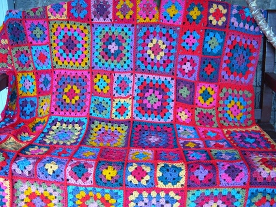 Dolly Vintage Style Granny Square Blanket Crochet Pattern PDF
