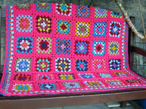 Shocking Pink Granny Square Blanket Bright Retro Vintage Style 15% OFF