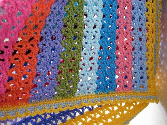 Gorgeous Colourful Rainbow Crochet Stripe Blanket Afghan