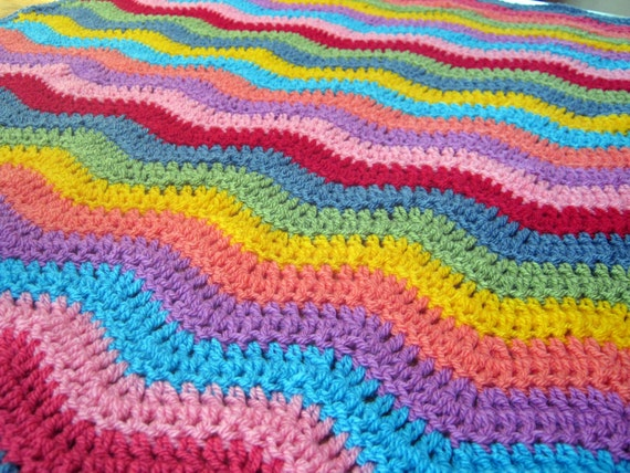 SALE Stunning Bright Vivid Rainbow Ripple Crochet Granny Stripes Blanket Afghan SALE