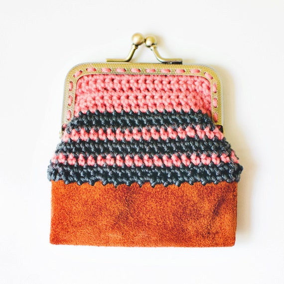 Reserved- Crochet and Leather: Coin Purse in coral & charcoal