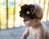 Brown Peony Flower Headband