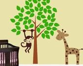 Wall Decal Monkey Giraffe Tree Childrens Vinyl Wall Art  Decal  EXTRA  LARGE