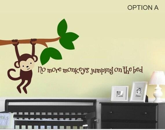 monkey no more monkeys jumping on the bed vinyl wall art. Black Bedroom Furniture Sets. Home Design Ideas