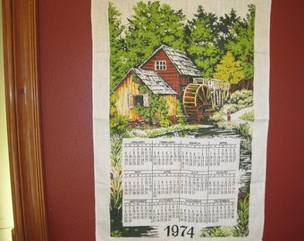 Rare 1974 GONE FISHING Linen Kitchen Towel Wall Calendar-Water Mill Pond With Boy Fishing-Rustic Farmhouse Wall Decor Collectible Calendar