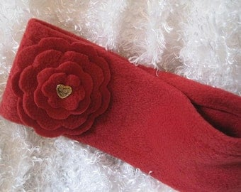 Red Flower Fleece Headband Ear Warmer with Red Layered Flower & Vintage Gold Heart Button-Junior/Teen/Adult Red Headband Accessory Valentine